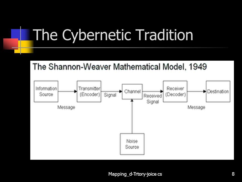 Mapping_d-Trtory-joice cs9 The Cybernetic Tradition Communication as Information Processing Melalui pernyataan-pernyataan matematis, Shannon (dan lalu juga Weaver) menunjukkan hubungan antara elemen sistem teknologi komunikasi, yaitu sumber, saluran, dan sasaran.
