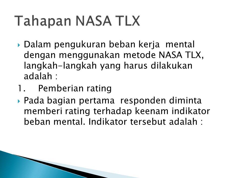  Dalam pengukuran beban kerja mental dengan menggunakan metode NASA TLX, langkah-langkah yang harus dilakukan adalah : 1.Pemberian rating  Pada bagi