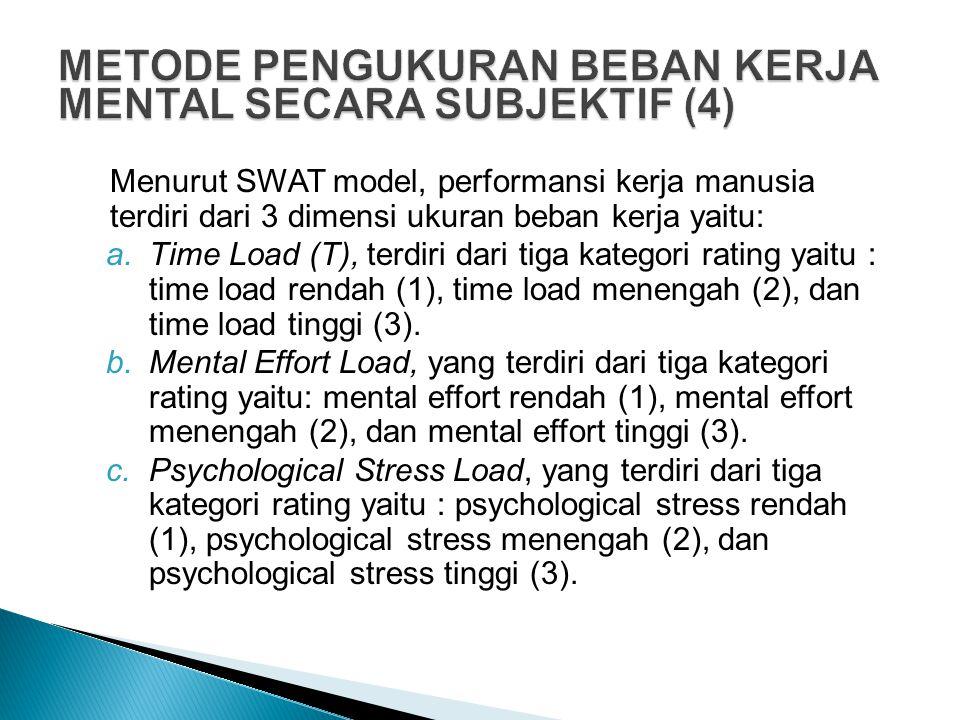 Menurut SWAT model, performansi kerja manusia terdiri dari 3 dimensi ukuran beban kerja yaitu: a.Time Load (T), terdiri dari tiga kategori rating yait