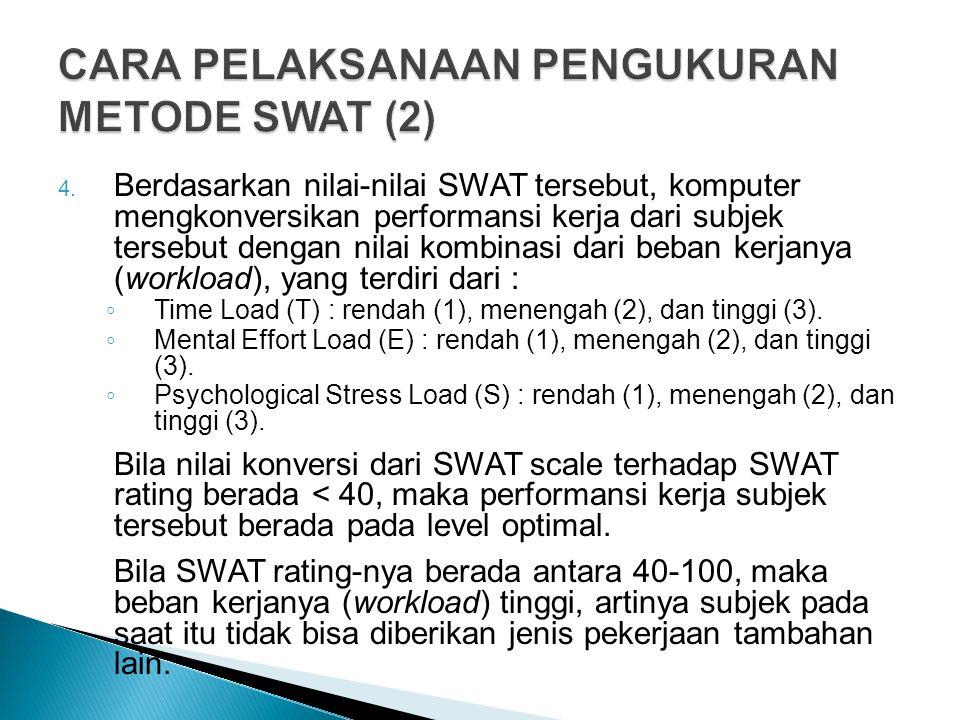 4. Berdasarkan nilai-nilai SWAT tersebut, komputer mengkonversikan performansi kerja dari subjek tersebut dengan nilai kombinasi dari beban kerjanya (