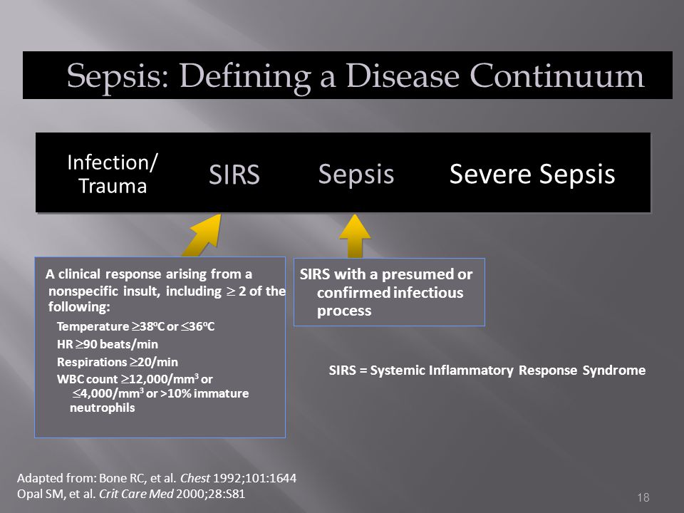 18 Sepsis: Defining a Disease Continuum A clinical response arising from a nonspecific insult, including  2 of the following: Temperature  38 o C or