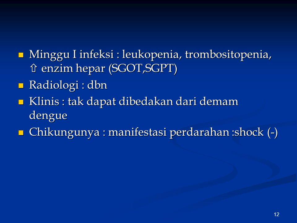 12 Minggu I infeksi : leukopenia, trombositopenia,  enzim hepar (SGOT,SGPT) Minggu I infeksi : leukopenia, trombositopenia,  enzim hepar (SGOT,SGPT) Radiologi : dbn Radiologi : dbn Klinis : tak dapat dibedakan dari demam dengue Klinis : tak dapat dibedakan dari demam dengue Chikungunya : manifestasi perdarahan :shock (-) Chikungunya : manifestasi perdarahan :shock (-)
