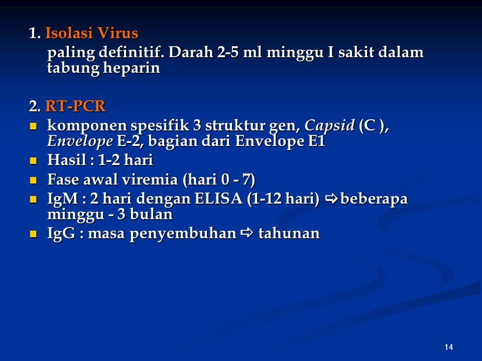 14 1.Isolasi Virus paling definitif. Darah 2-5 ml minggu I sakit dalam tabung heparin 2.