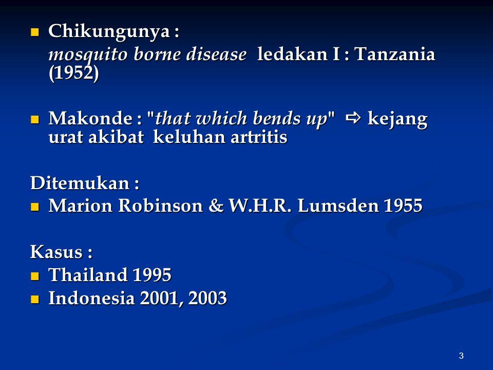3 Chikungunya : Chikungunya : mosquito borne disease ledakan I : Tanzania (1952) Makonde : that which bends up  kejang urat akibat keluhan artritis Makonde : that which bends up  kejang urat akibat keluhan artritis Ditemukan : Marion Robinson & W.H.R.