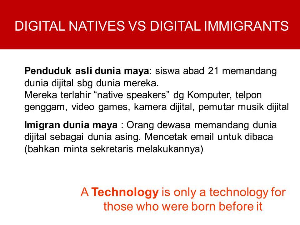 """Penduduk asli dunia maya: siswa abad 21 memandang dunia dijital sbg dunia mereka. Mereka terlahir """"native speakers"""" dg Komputer, telpon genggam, video"""