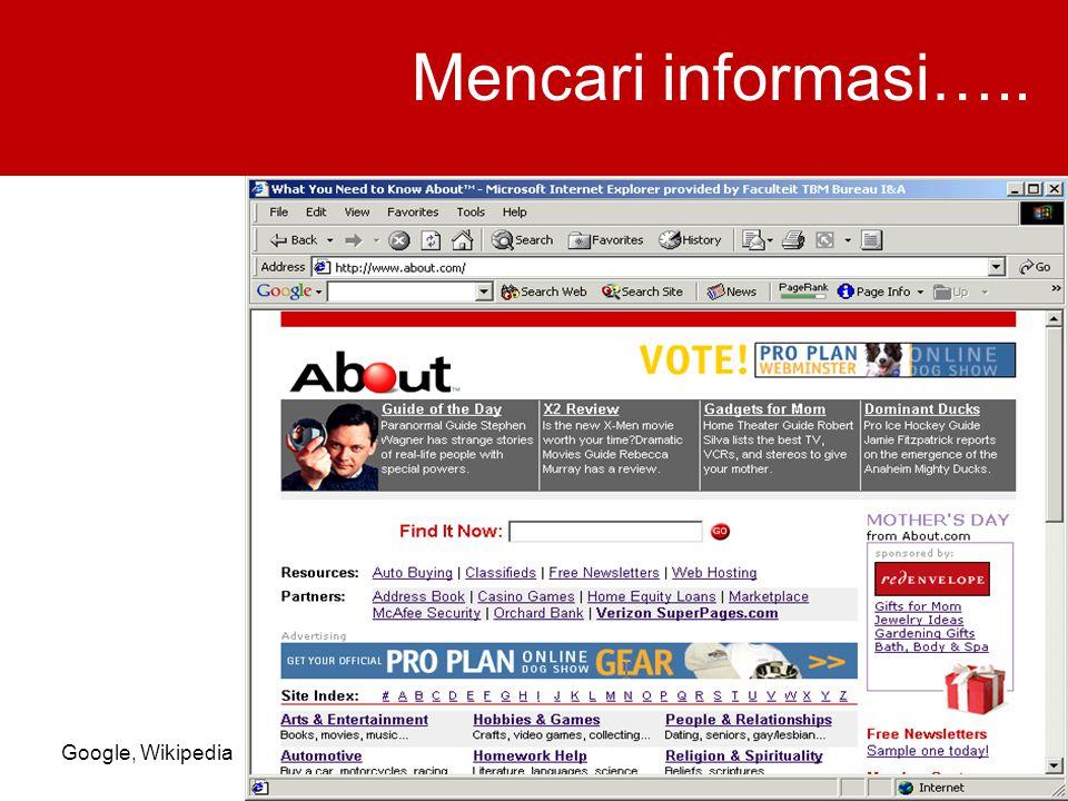 Mencari informasi….. Google, Wikipedia
