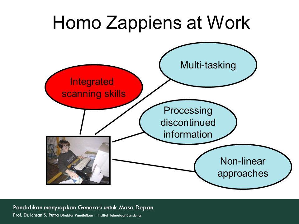 Integrated scanning skills Multi-tasking Processing discontinued information Non-linear approaches Homo Zappiens at Work Pendidikan menyiapkan Generasi untuk Masa Depan Prof.