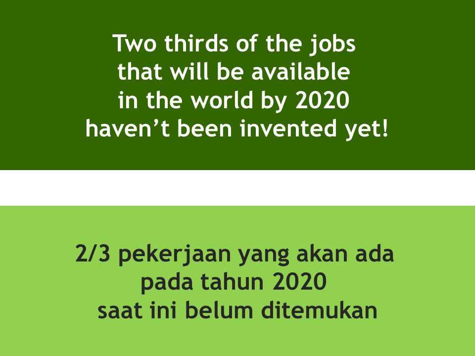 Two thirds of the jobs that will be available in the world by 2020 haven't been invented yet! 2/3 pekerjaan yang akan ada pada tahun 2020 saat ini bel