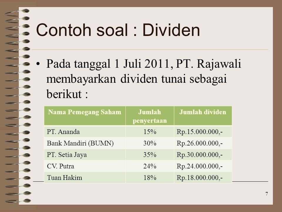 Contoh soal : Dividen Pada tanggal 1 Juli 2011, PT.