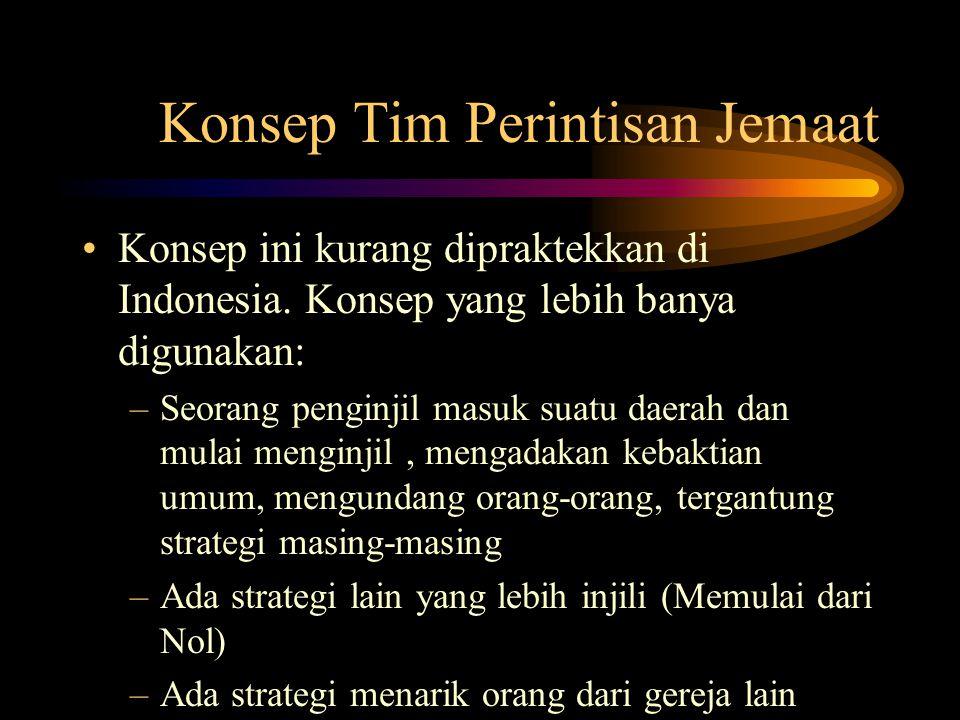 Konsep Tim Perintisan Jemaat Konsep ini kurang dipraktekkan di Indonesia. Konsep yang lebih banya digunakan: –Seorang penginjil masuk suatu daerah dan