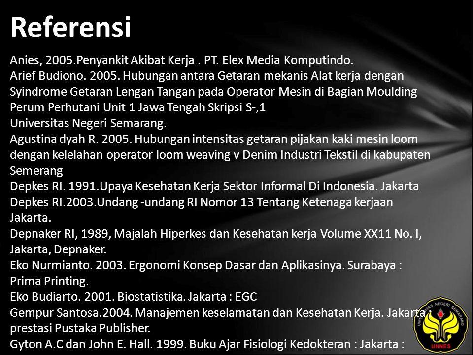 Referensi Anies, 2005.Penyankit Akibat Kerja. PT. Elex Media Komputindo. Arief Budiono. 2005. Hubungan antara Getaran mekanis Alat kerja dengan Syindr