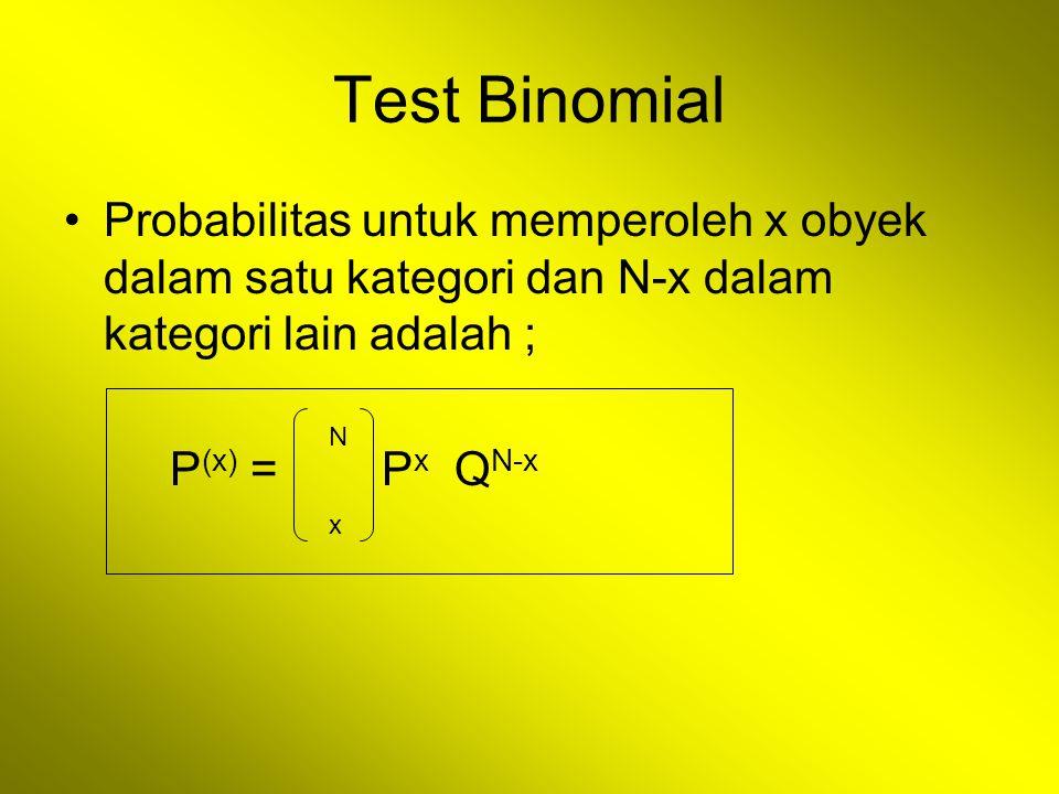 Test Binomial Probabilitas untuk memperoleh x obyek dalam satu kategori dan N-x dalam kategori lain adalah ; P (x) = P x Q N-x N x