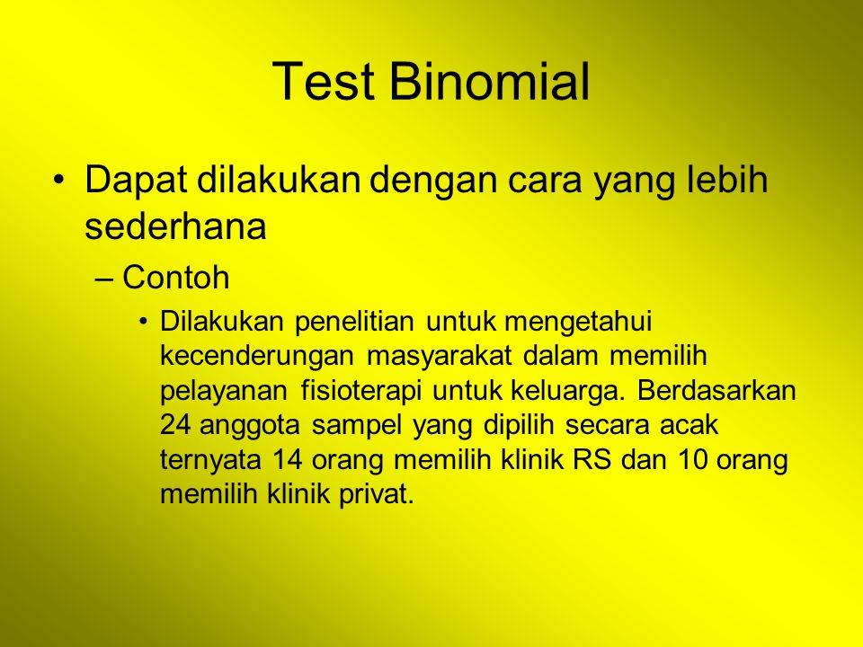 Test Binomial Dapat dilakukan dengan cara yang lebih sederhana –Contoh Dilakukan penelitian untuk mengetahui kecenderungan masyarakat dalam memilih pe