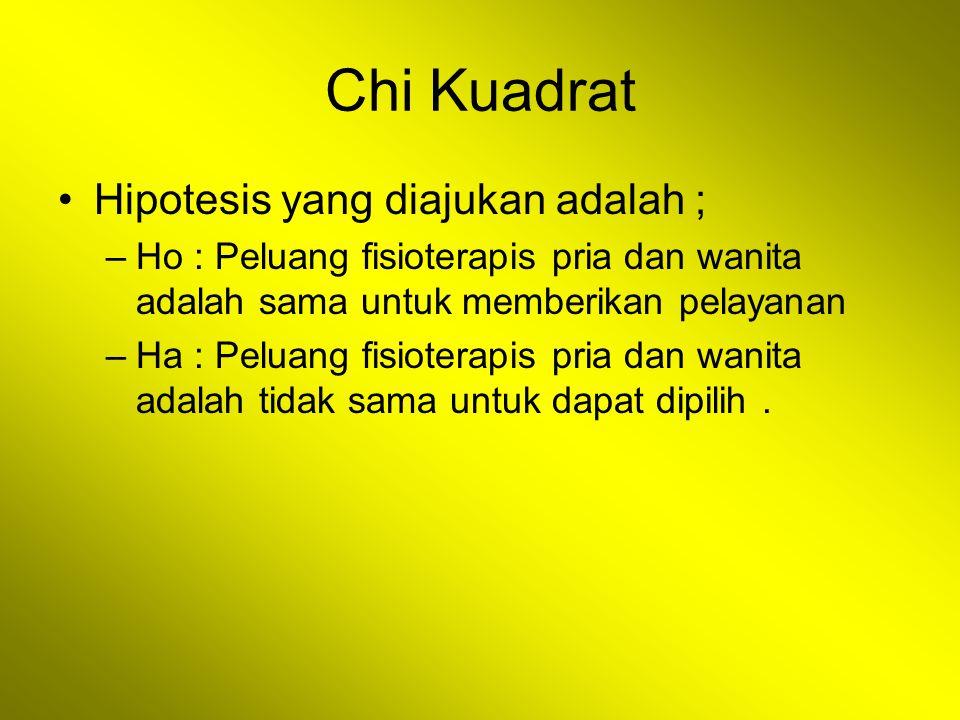 Chi Kuadrat Hipotesis yang diajukan adalah ; –Ho : Peluang fisioterapis pria dan wanita adalah sama untuk memberikan pelayanan –Ha : Peluang fisiotera