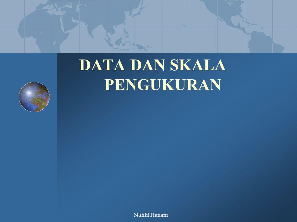 Nuhfil Hanani DATA PENELITIAN Jenis Data Waktu Time series (runtut waktu) Cross section (satu waktu ttt) Sumber data Data Primer Data Sekunder Pengukurannya Data Kualitatif : Nominal, Ordinal Data Kuantitatif : Interval, Rasio