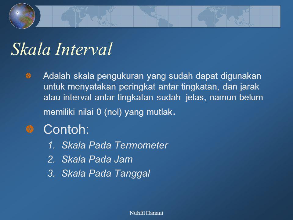 Nuhfil Hanani Skala Interval Adalah skala pengukuran yang sudah dapat digunakan untuk menyatakan peringkat antar tingkatan, dan jarak atau interval an