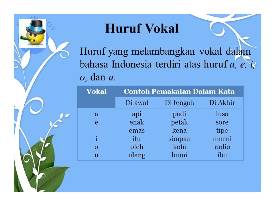Huruf Konsonan Huruf yang melambangkan konsonan dalam bahasa Indonesia terdiri atas huruf-huruf b, c, d, f, g, h, j, k, l, m, n, p, q, r, s, t, v, w, x, y, dan z.