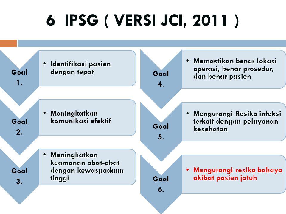 6 IPSG ( VERSI JCI, 2011 ) Goal 1. Identifikasi pasien dengan tepatIdentifikasi pasien dengan tepat Goal 2. Meningkatkan komunikasi efektif Goal 3. Me