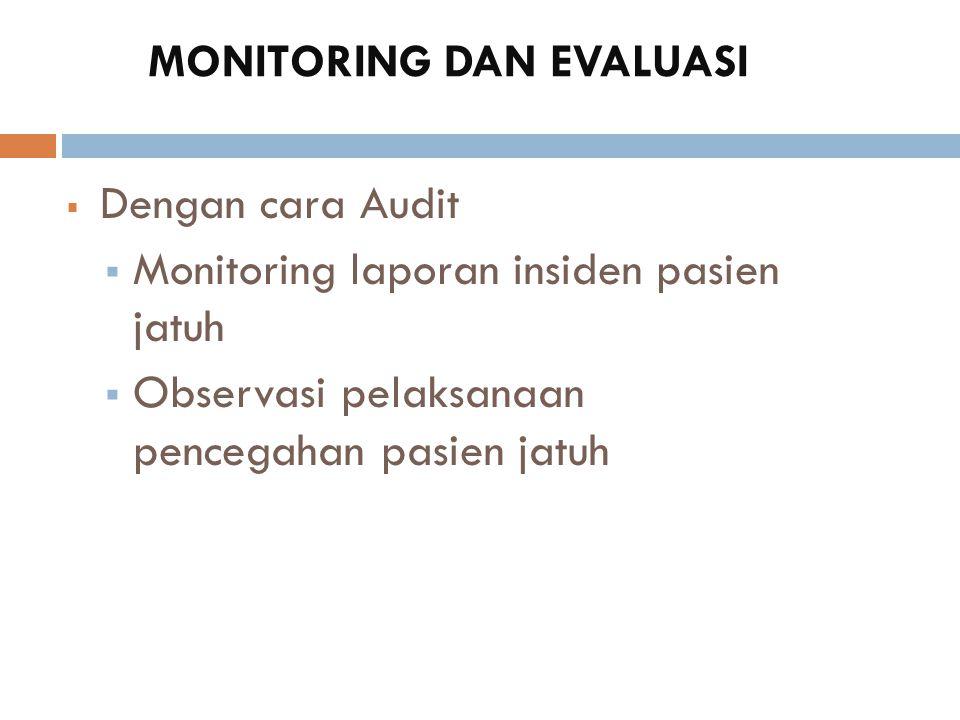 MONITORING DAN EVALUASI  Dengan cara Audit  Monitoring laporan insiden pasien jatuh  Observasi pelaksanaan pencegahan pasien jatuh