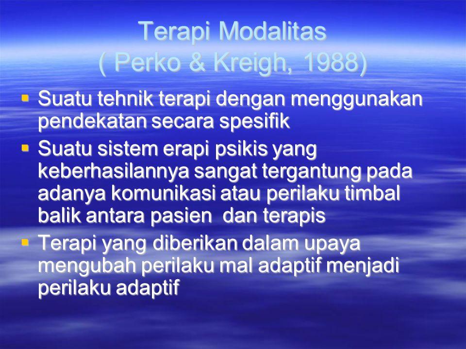 Terapi Modalitas ( Perko & Kreigh, 1988)  Suatu tehnik terapi dengan menggunakan pendekatan secara spesifik  Suatu sistem erapi psikis yang keberhas
