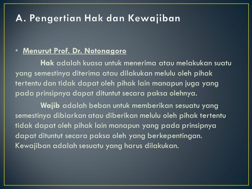Menurut Prof. Dr. Notonagoro Hak adalah kuasa untuk menerima atau melakukan suatu yang semestinya diterima atau dilakukan melulu oleh pihak tertentu d