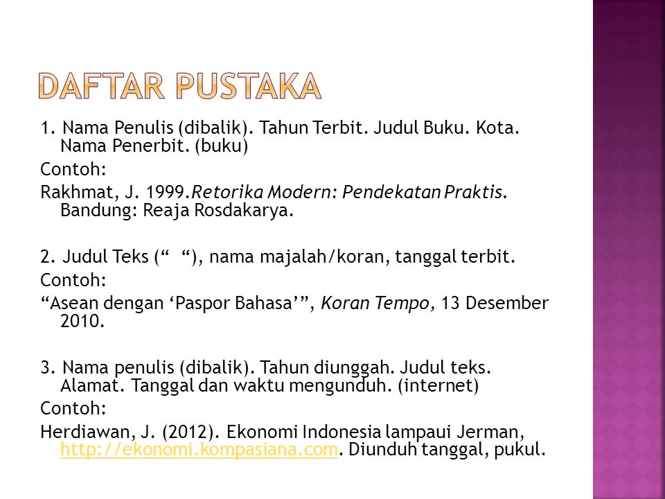 1. Nama Penulis (dibalik). Tahun Terbit. Judul Buku. Kota. Nama Penerbit. (buku) Contoh: Rakhmat, J. 1999.Retorika Modern: Pendekatan Praktis. Bandung