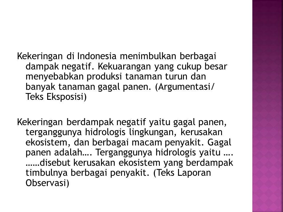 Kekeringan di Indonesia menimbulkan berbagai dampak negatif. Kekuarangan yang cukup besar menyebabkan produksi tanaman turun dan banyak tanaman gagal