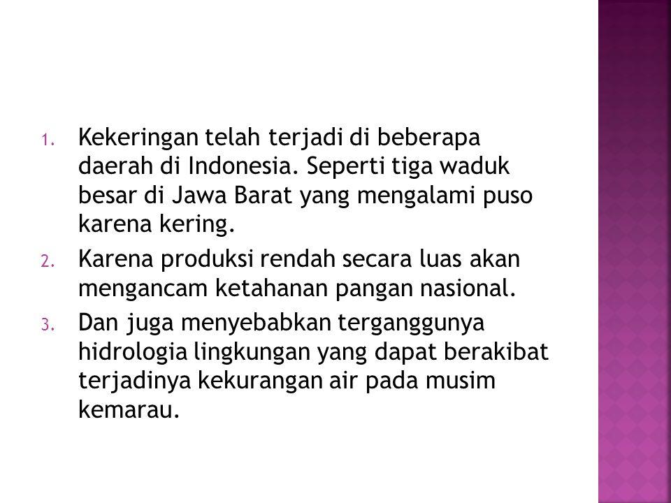 1. Kekeringan telah terjadi di beberapa daerah di Indonesia. Seperti tiga waduk besar di Jawa Barat yang mengalami puso karena kering. 2. Karena produ