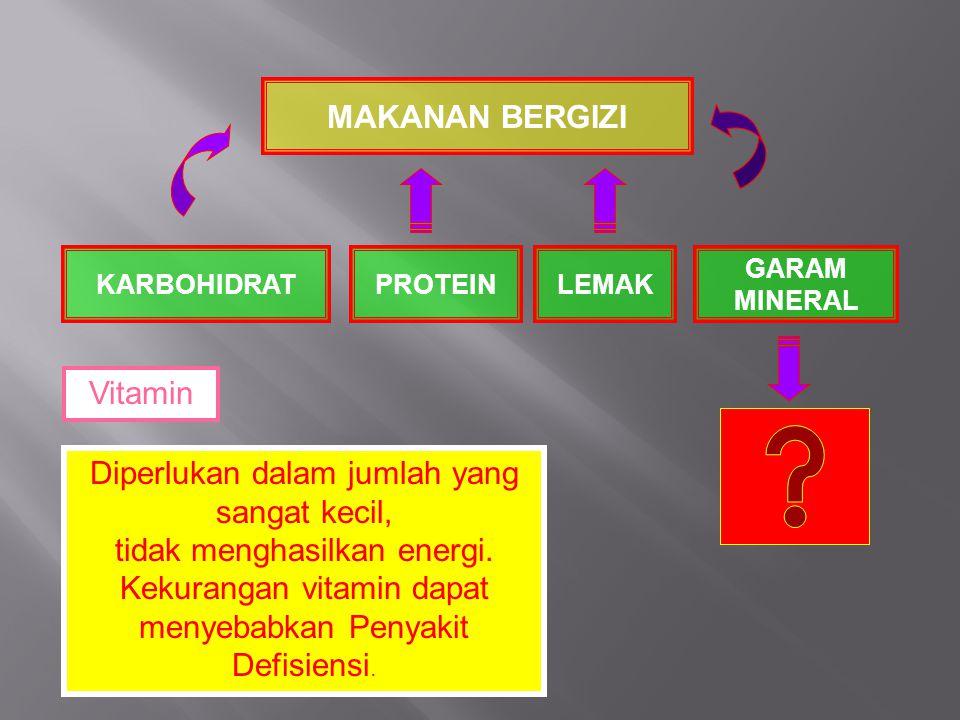 MAKANAN BERGIZI KARBOHIDRATPROTEINLEMAK GARAM MINERAL Diperlukan dalam jumlah yang sangat kecil, tidak menghasilkan energi. Kekurangan vitamin dapat m