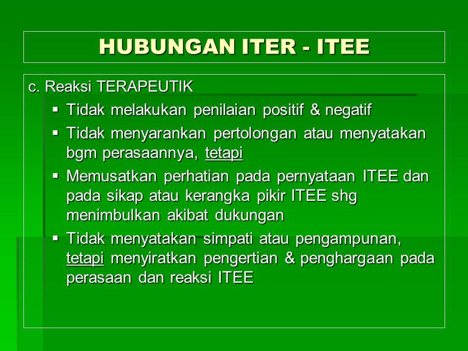 HUBUNGAN ITER - ITEE c. Reaksi TERAPEUTIK  Tidak melakukan penilaian positif & negatif  Tidak menyarankan pertolongan atau menyatakan bgm perasaanny