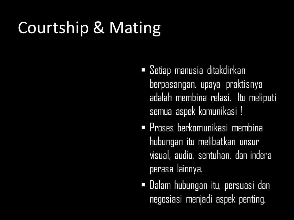 Courtship & Mating  Setiap manusia ditakdirkan berpasangan, upaya praktisnya adalah membina relasi. Itu meliputi semua aspek komunikasi !  Proses be