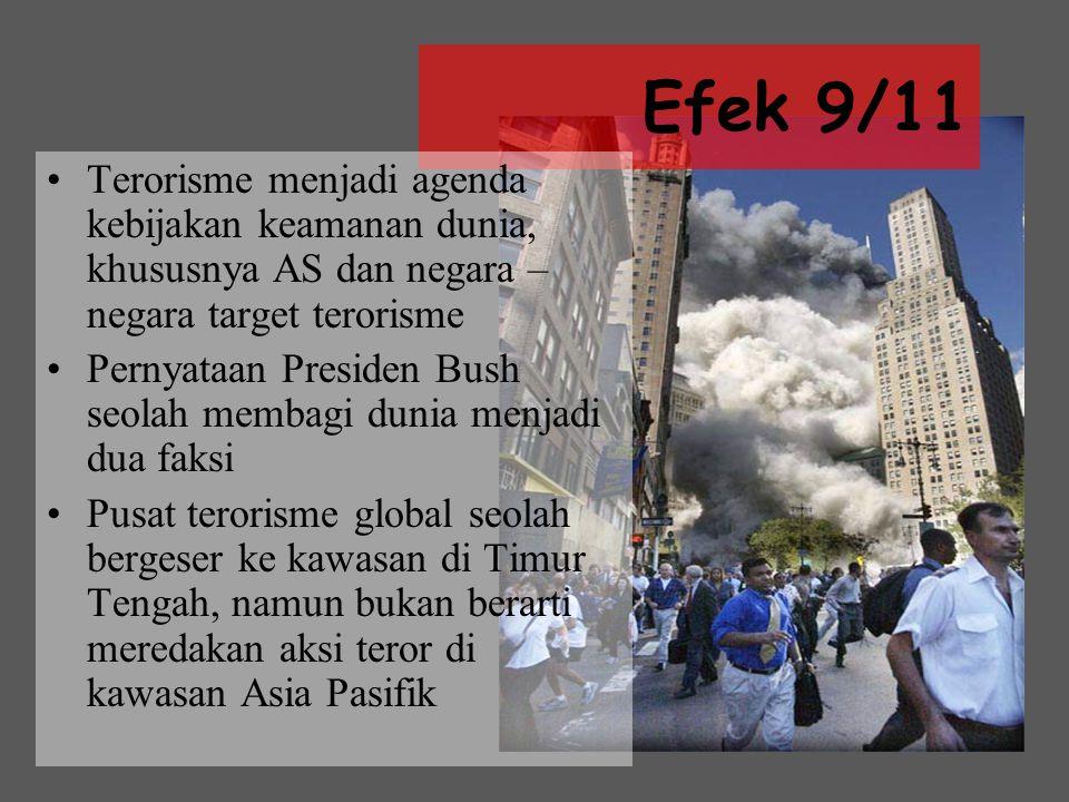 Efek 9/11 Terorisme menjadi agenda kebijakan keamanan dunia, khususnya AS dan negara – negara target terorisme Pernyataan Presiden Bush seolah membagi