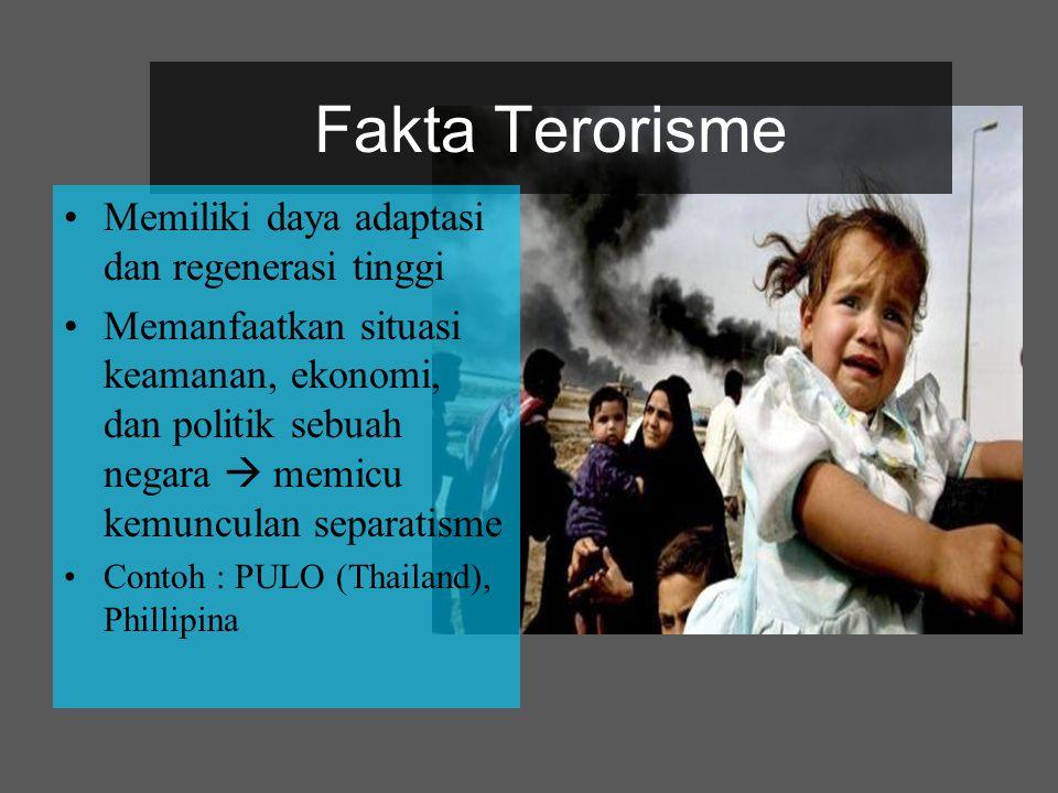 Fakta Terorisme Memiliki daya adaptasi dan regenerasi tinggi Memanfaatkan situasi keamanan, ekonomi, dan politik sebuah negara  memicu kemunculan sep