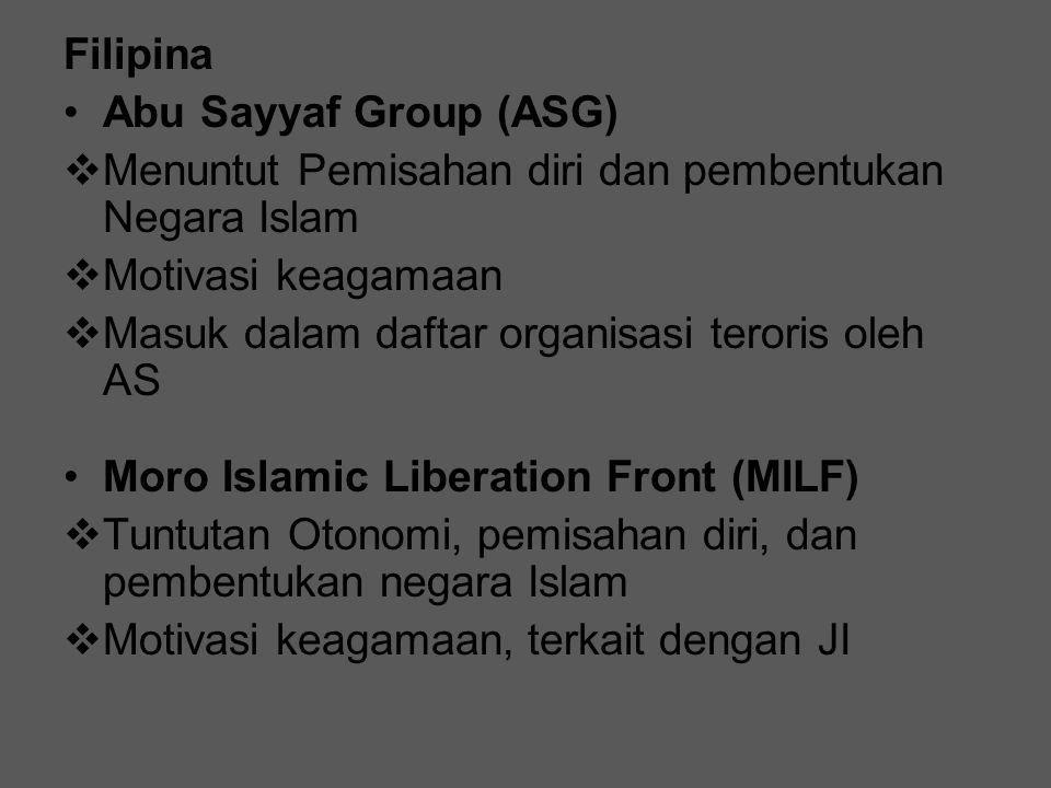 Moro National Liberation Front (MNLF)  Tuntutan Otonomi, pemisahan diri  Ethnonationalis New People's Army  Tujuan: penguasaan Politik lokal  Berdasarkan ideologi Komunis  Masuk dalam daftar organisasi teroris oleh AS