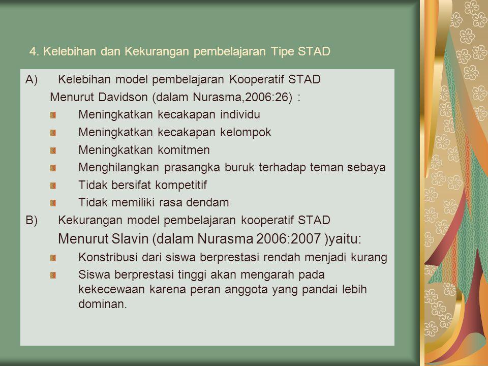 4. Kelebihan dan Kekurangan pembelajaran Tipe STAD A)Kelebihan model pembelajaran Kooperatif STAD Menurut Davidson (dalam Nurasma,2006:26) : Meningkat