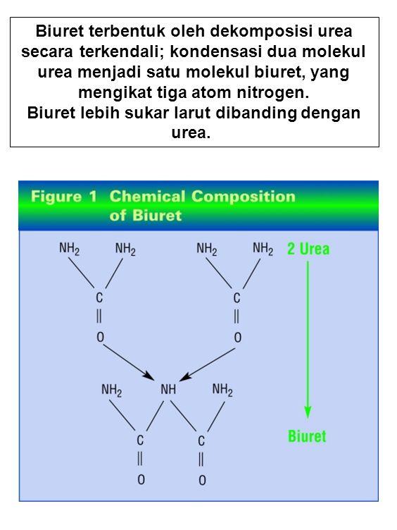 Biuret terbentuk oleh dekomposisi urea secara terkendali; kondensasi dua molekul urea menjadi satu molekul biuret, yang mengikat tiga atom nitrogen. B