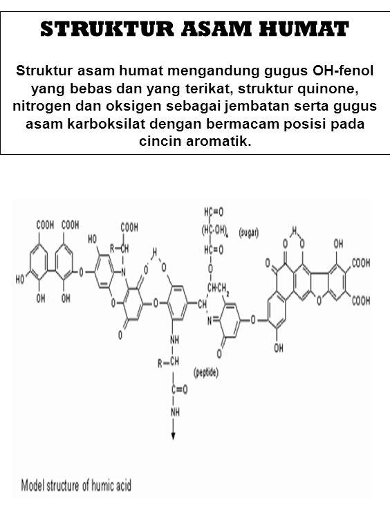 STRUKTUR ASAM HUMAT Struktur asam humat mengandung gugus OH-fenol yang bebas dan yang terikat, struktur quinone, nitrogen dan oksigen sebagai jembatan