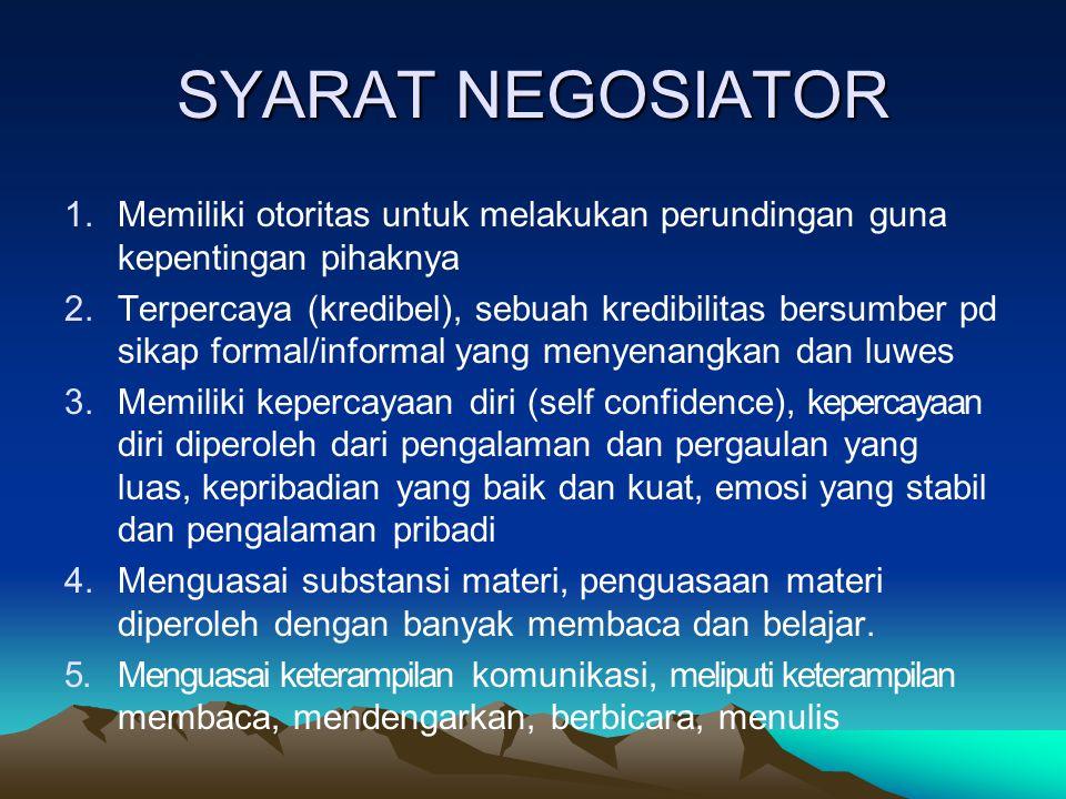 SYARAT NEGOSIATOR 1.Memiliki otoritas untuk melakukan perundingan guna kepentingan pihaknya 2.Terpercaya (kredibel), sebuah kredibilitas bersumber pd