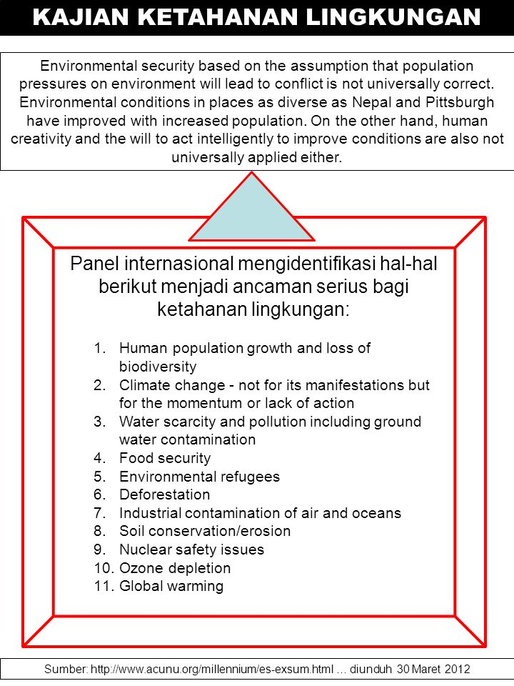 Environmental security based on the assumption that population pressures on environment will lead to conflict is not universally correct. Environmenta