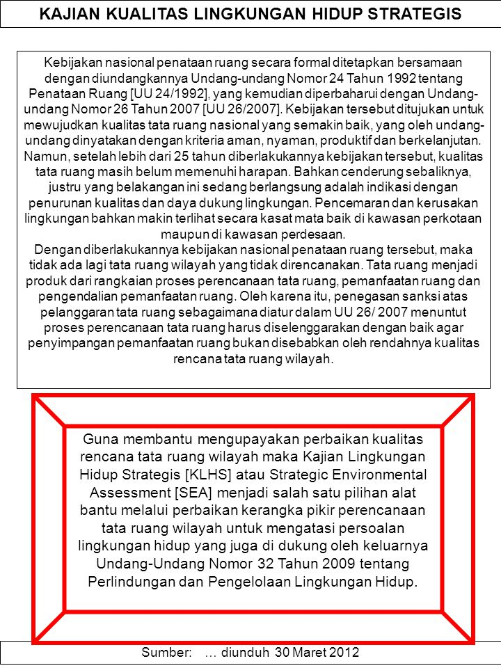 KAJIAN KUALITAS LINGKUNGAN HIDUP STRATEGIS Kebijakan nasional penataan ruang secara formal ditetapkan bersamaan dengan diundangkannya Undang-undang No