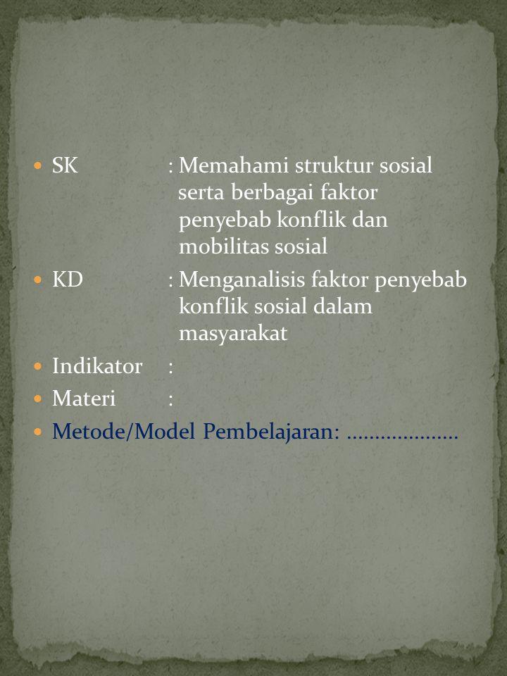 SK : Memahami struktur sosial serta berbagai faktor penyebab konflik dan mobilitas sosial KD : Menganalisis faktor penyebab konflik sosial dalam masyarakat Indikator: Materi: Metode/Model Pembelajaran:....................