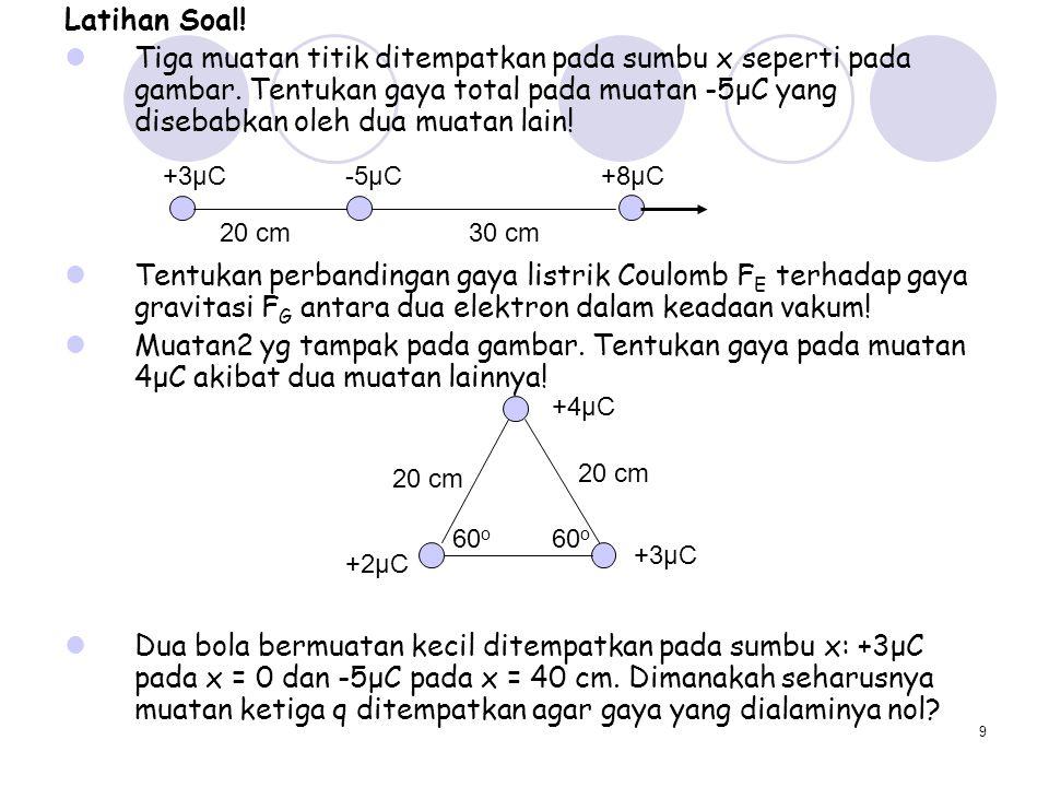 9 Latihan Soal! Tiga muatan titik ditempatkan pada sumbu x seperti pada gambar. Tentukan gaya total pada muatan -5μC yang disebabkan oleh dua muatan l