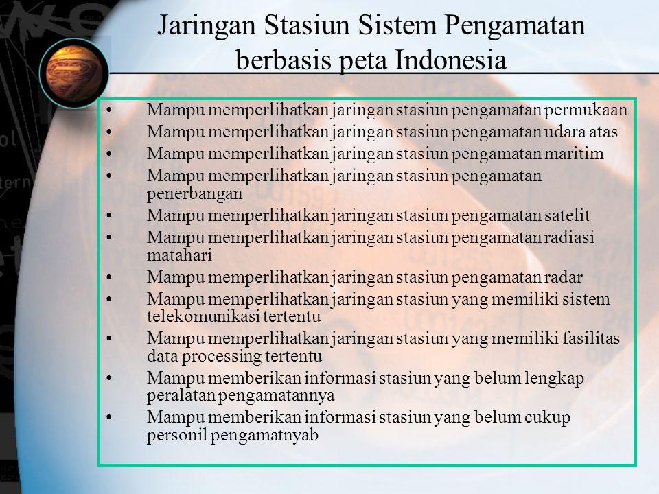 Jaringan Stasiun Sistem Pengamatan berbasis peta Indonesia Mampu memperlihatkan jaringan stasiun pengamatan permukaan Mampu memperlihatkan jaringan st