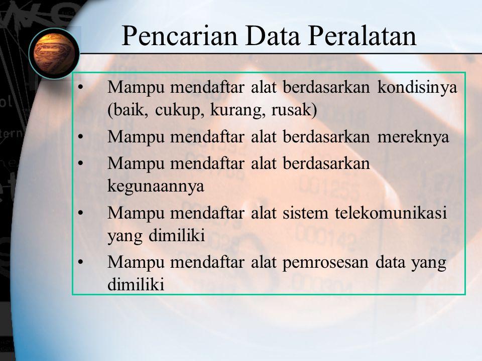 Pencarian Data Peralatan Mampu mendaftar alat berdasarkan kondisinya (baik, cukup, kurang, rusak) Mampu mendaftar alat berdasarkan mereknya Mampu mend
