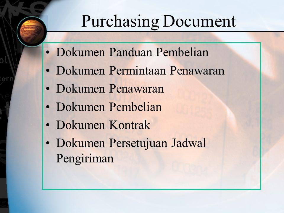 Purchasing Document Dokumen Panduan Pembelian Dokumen Permintaan Penawaran Dokumen Penawaran Dokumen Pembelian Dokumen Kontrak Dokumen Persetujuan Jad