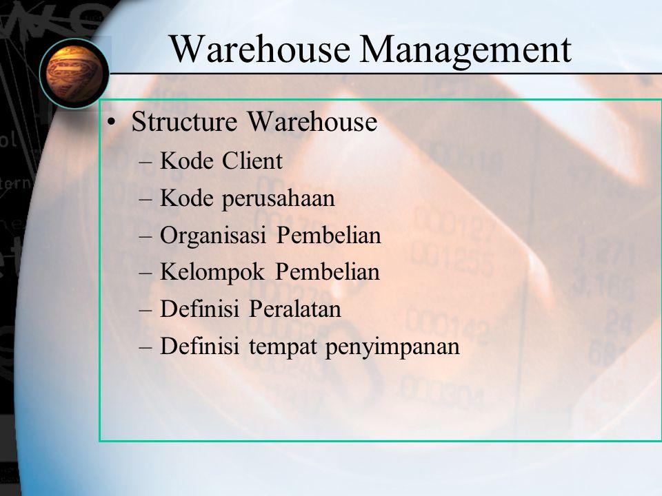 Warehouse Management Structure Warehouse –Kode Client –Kode perusahaan –Organisasi Pembelian –Kelompok Pembelian –Definisi Peralatan –Definisi tempat