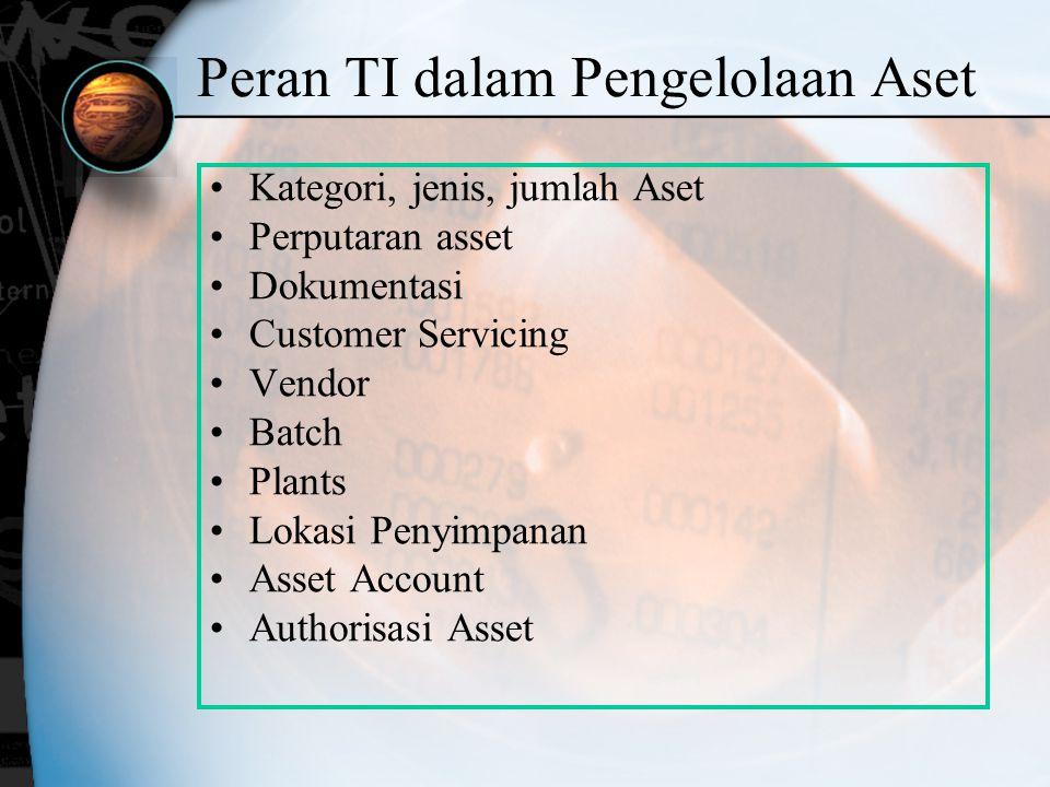 Peran TI dalam Pengelolaan Aset Kategori, jenis, jumlah Aset Perputaran asset Dokumentasi Customer Servicing Vendor Batch Plants Lokasi Penyimpanan As