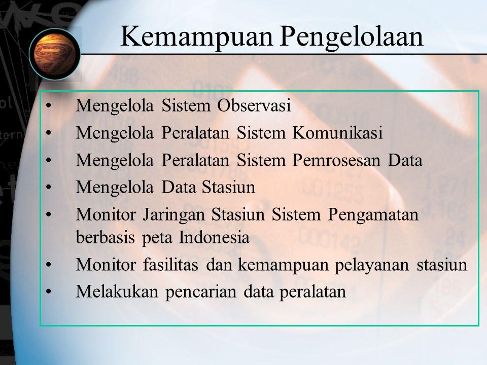 Kemampuan Pengelolaan Mengelola Sistem Observasi Mengelola Peralatan Sistem Komunikasi Mengelola Peralatan Sistem Pemrosesan Data Mengelola Data Stasi