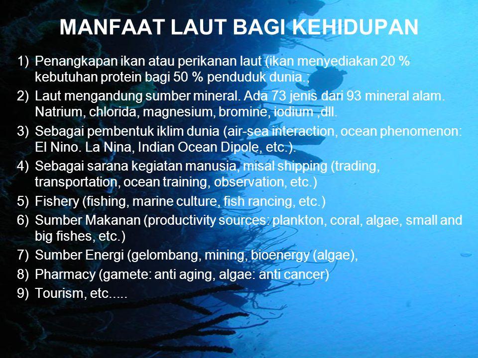 MANFAAT LAUT BAGI KEHIDUPAN 1)Penangkapan ikan atau perikanan laut (ikan menyediakan 20 % kebutuhan protein bagi 50 % penduduk dunia.; 2)Laut mengandu