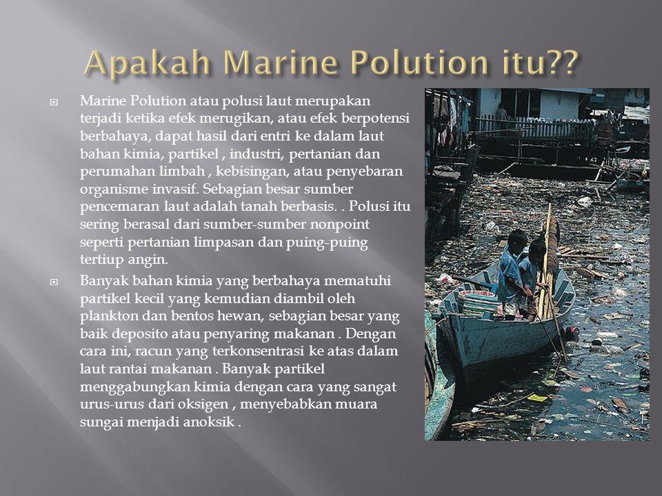  Marine Polution atau polusi laut merupakan terjadi ketika efek merugikan, atau efek berpotensi berbahaya, dapat hasil dari entri ke dalam laut bahan kimia, partikel, industri, pertanian dan perumahan limbah, kebisingan, atau penyebaran organisme invasif.